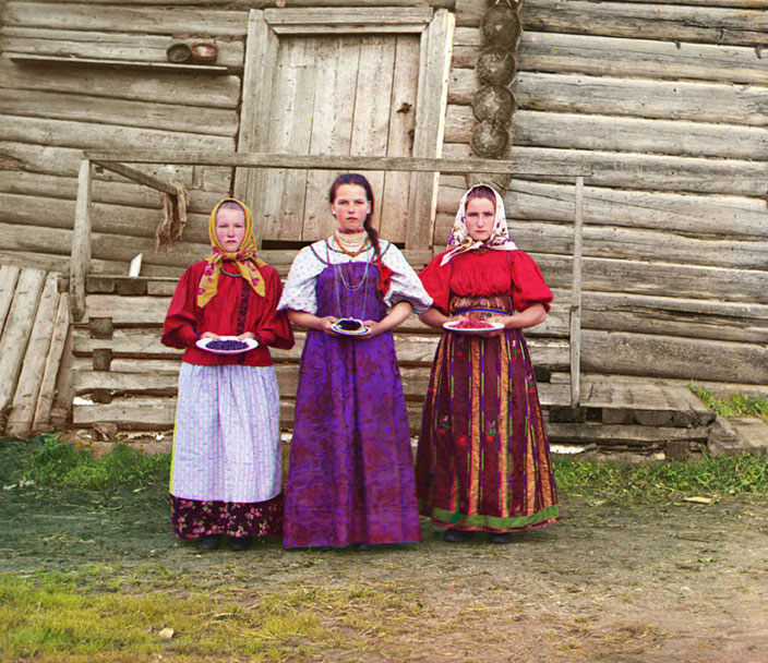 """Prokudin-Gorsky's """"Peasant Girls, 1909,"""" from the Library of Congress and in the public domain."""