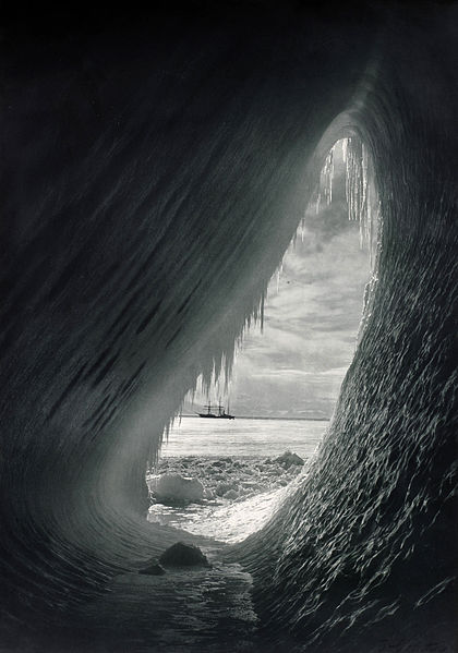 Figure 1 - Herbert Ponting's Ice Grotto.  From Wikicommons and in the public domain.