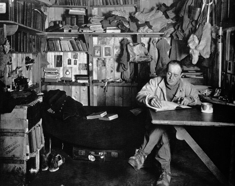 """Figure 1 - Herbert Ponting """"Robert Falcon Scott  in Winter Camp.""""  Image from the Wikicommons and in the public domain."""