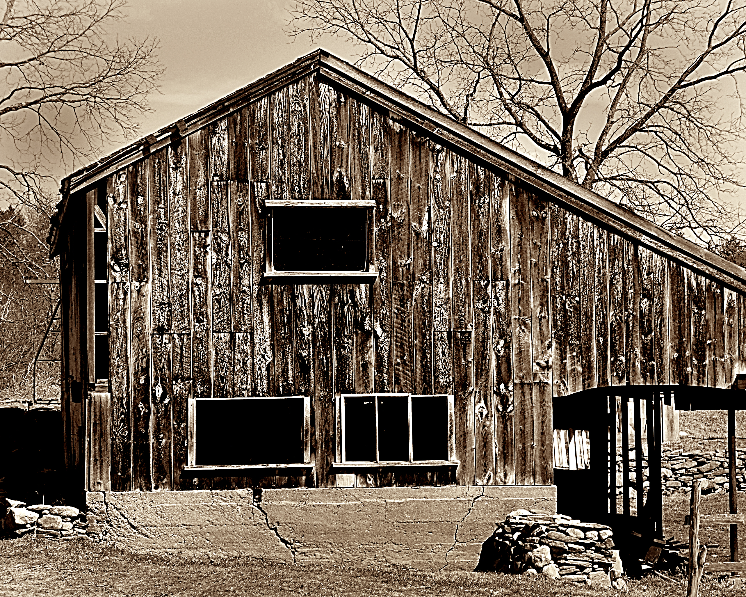 """Figure 1 - """"Old New England Barn in Spring, Stow, MA,"""" (c) copyright DEWolf 2013/"""