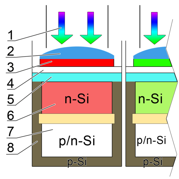 Figure 3 - Cross section of a pixel on a color digital camera CCD sensor.  From the Wikicommons and in the public domain.