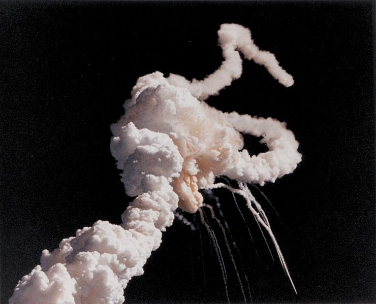 Figure 1 - The Challenger Disaster. Photograph from the Wikicommons and NASA in the public domain.