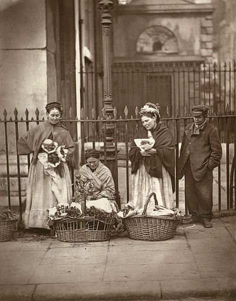 Figure 1 - John Thompson, Flower Girls in Front of Concvent Garden.  From the Wikicommons and in the public domain.