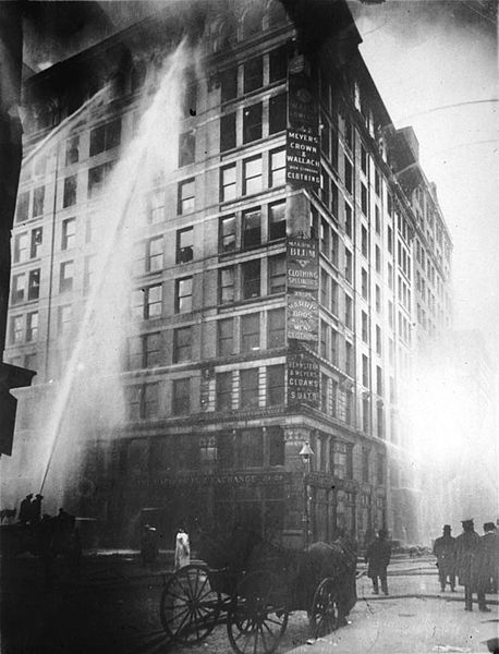Figure 2 - New York City firemen attempt to controll the Washington Place fire, March 25, 1911 from the LOC and the Wikicommons in the public domain.