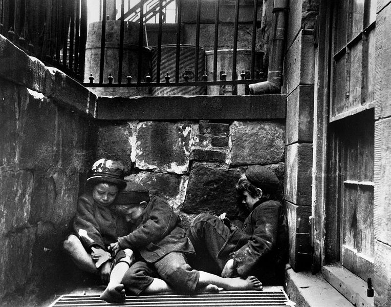 """Figure 1 - Jacon Riis, """"Children Sleeping in Mulberry Street, 1890,"""" from the Wikicommons and in the public domain."""