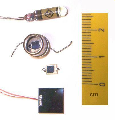 Figure 2 - Examples of discrete photodiode light detectors.  From the Wikicommons and in the public domain under GNU licsense
