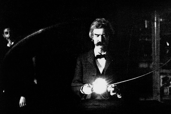Mark Twain in Tesla's laboratory.  Originally from The Century Magazine from the Wikicommons and in the public domain.