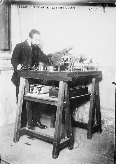 Figure 1 - Édouard Belin receiving a telediagraph image 1920.  From the Wikimediacommons and the LOC in the public domain.
