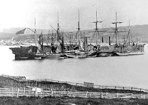 Figure 1 - The ship that lay the 1866 transatlantic cable, The Great Eastern, at Hearts Content. From the Wikicommons and in the public domain.