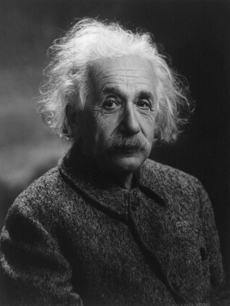 Figure 1 - Einstein facing the right way and wearing his own coat.  1947 from the Wikimediacommons and in the public domain.