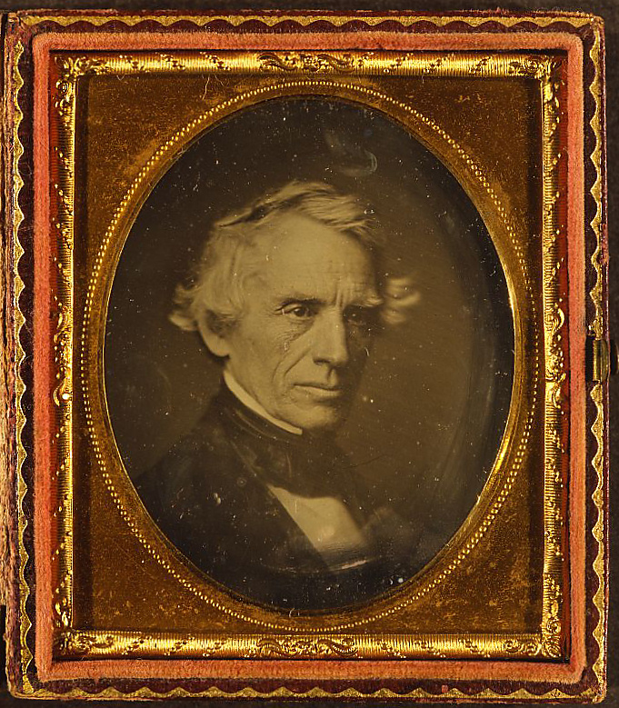 Figure 1 - Daguerreotype of Samuel Finlay Breeze Morse, artist, inventor, photographer, 1845.  From the library of Congress and in the public domain.