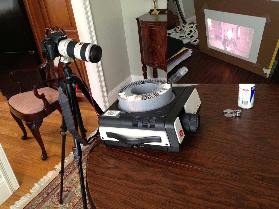 Figure 1 - Using a slide projector to digitize slides.  Insert top right shows slide projected on screen.  Method proved to be unsatisfactory because of the projector's lens quality. (c) DE Wolf 2013.