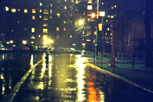 Figure 2 - Uncorrected digitized Ektachrome image of a wet street at night in NYC, illustrating reciprocity failure. (c) DE Wolf 2013.