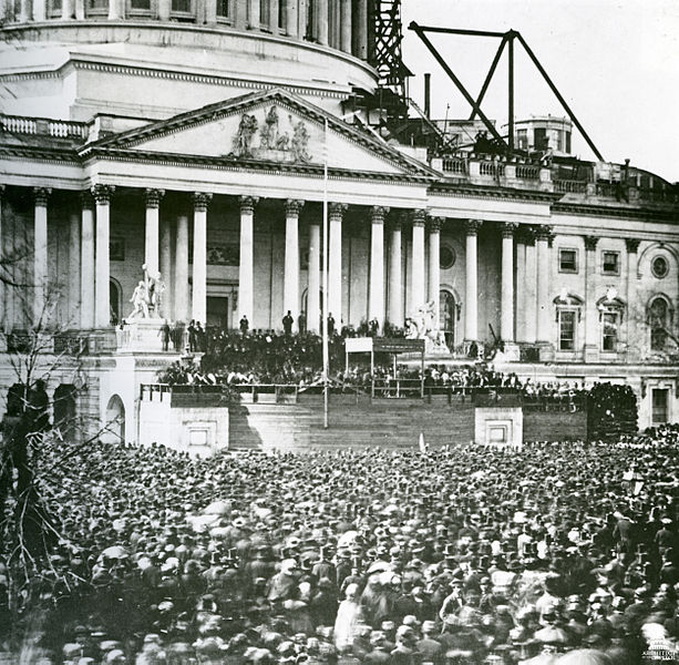 Figure 1 Abraham Lincoln's first Inauguration, May 4, 1861.  From the Wikimediacommons and in the public domain.