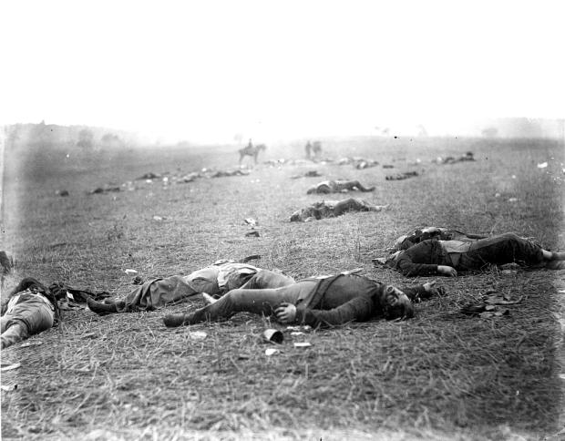 Figure 1 - Iconic image of the aftermath of the Battle of Gettysburg taken by Timothy O'Sullivan the day after the battle July 4, 1863.  From the LOC and in the public domain.