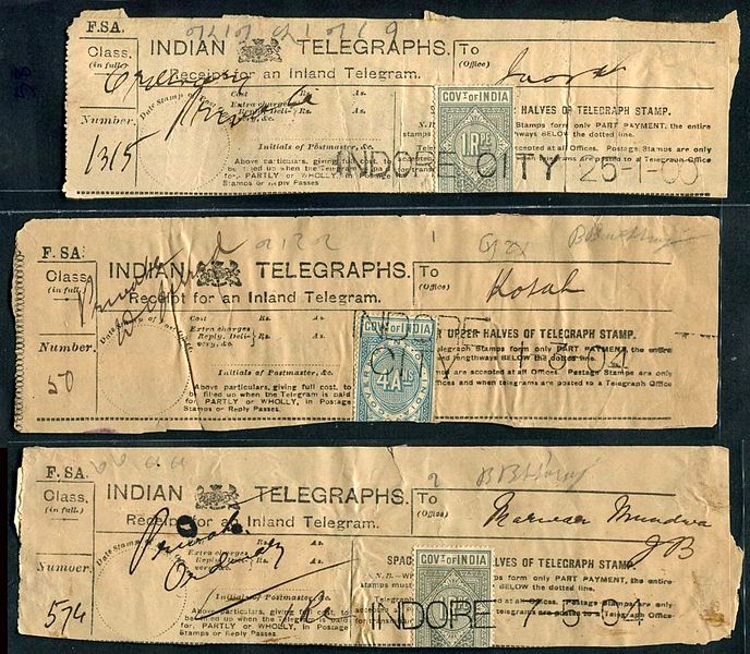 Figure 1 - Indian telegraph receipts from c. 1900, from the Wikimedia Commons and in the public domain.
