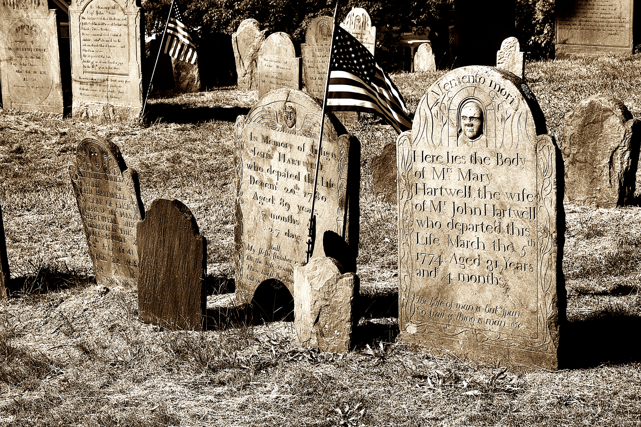Eighteenth century graves of the Hartwell Family, Old Hill Burying Ground, Concord, MA, (c) DE Wolf, 2013.