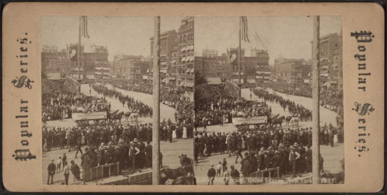 Figure 1 - Classic stereo image showing the Labor Day Parade on Union Square, in New York, City in 1887, from the Robert N Dennis collection of stereoscopic views in the New York Public Library. Scanned image from the Wikimedia Commons and in the public domain.