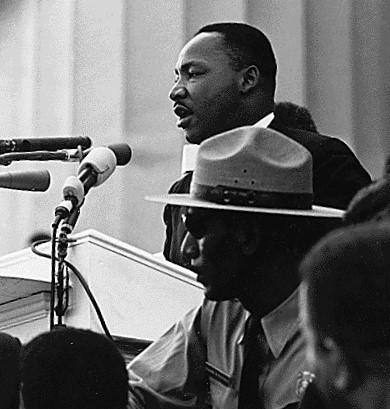 Figure 1 - Martin Luther King speaking at the March on Washington, August 28, 2013.  Image property of the United States government and in the public domain.