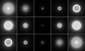 Figure 2 - A point source as imaged by a system with negative (top), zero (centre), and positive (bottom) spherical aberration. Images to the left are defocused toward the inside, images on the right toward the outside. From the Wikimedia Commons and released into the public domain by mdf.