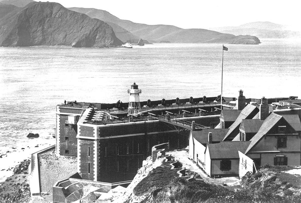 Figure 2 - San Francisco's Golden Gate in 1910 before the bridge was built, showing Fort Point and looking across the strait towards Marin County.  Image from the US National Park Service and in the public domain.