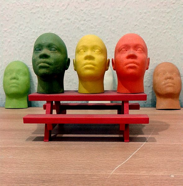 Figure 1 - Miniature human faces printed with a 3d printer. Image from the Wikimedia Commons, original image by S Zillayali and uploaded under creative commons license.