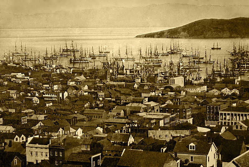 Figure 3 - Daguerreotype of San Francisco harbor (Yerba Buena Cove), in 1850 or 1851, with Yerba Buena Island in the background. Daguerrotype. From the Wikimedia Commons and the LOC in the public domain.