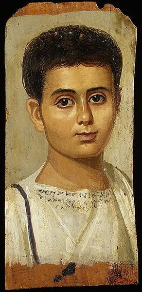 Figure 2 - Funerary portrait of a young Egyptian boy,  From the Wikimedia Commons originally uploaded by Juanmak and in the public domain.