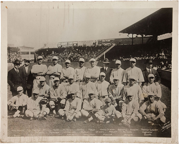 Figure 1 - The 1918 World Champion Boston Red Sox.  From the Wikimedia Commons, original photograph by Carl Horner and in the public domain.