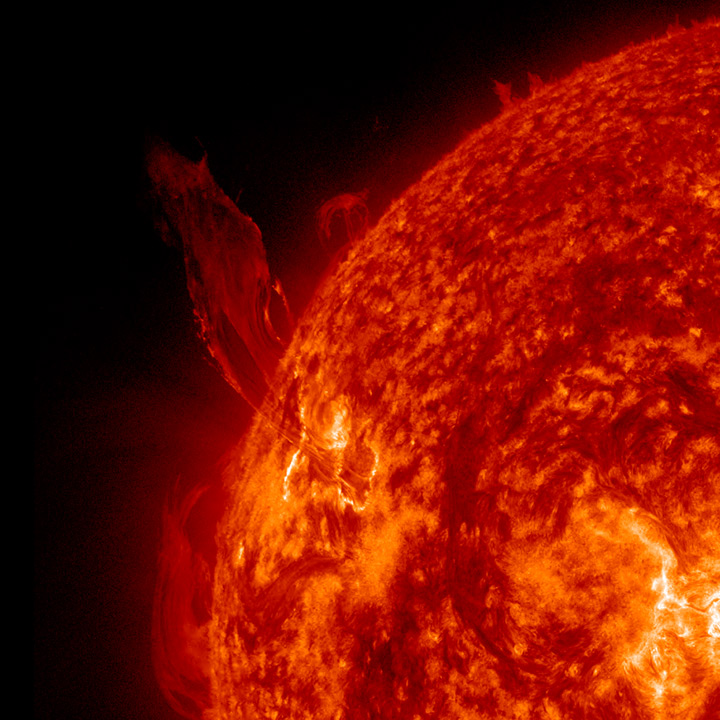 Figure 1 - Photograph of an erupting solar prominence taken of September 24, 2013 by the SDO. From NASA and in the publi domain.