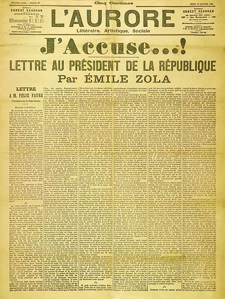 "Figure 1 -  Front page cover of the newspaper L'Aurore of Thursday 13 January 1898, with the letter J'accuse...!, written by Émile Zola about the Dreyfus affair. The headline reads ""I accuse! Letter to the President of the Republic,"" from the Wikimedia Commons and in the public domain."