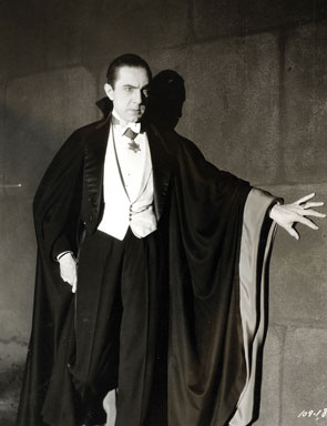 """Figure 1 - The great Bela Lugosi as """"Dracula, 1931.""""  Image from Universal Studios via the Wikimediacommons, out of copyright and in the public domain."""