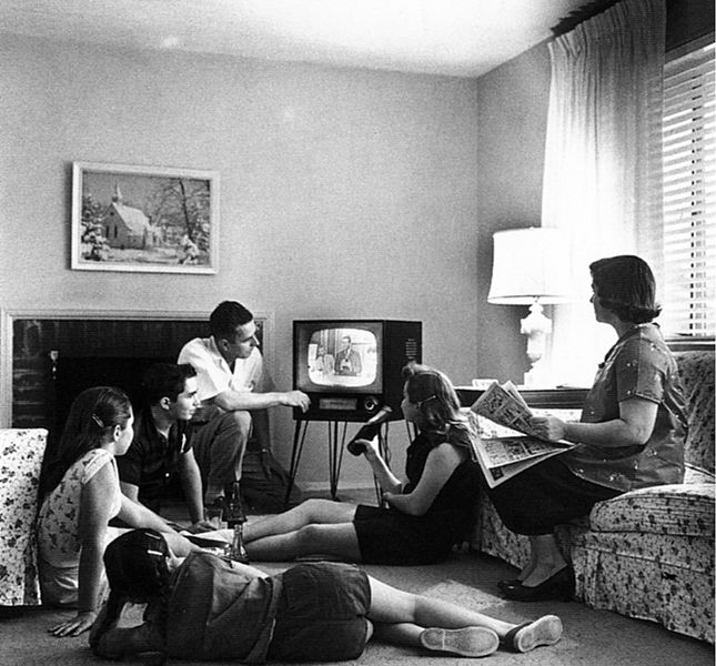 Figure 1 - American family watching television in 1958.  Imqage from US National Archives and posted by Dr. William J. Ball.  From the Wikimedia Commons and believed to be in the public domain.