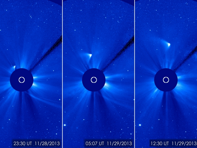 Figure 1 Set of images taken by NASA's Solar Dynamics Observatory satellite showing the remnants of Comet ISON surviving perihelion.  Image from NASA and in the public domain.