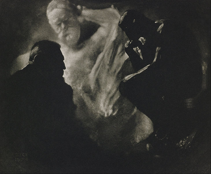 Figure 1 - Edward Steichen, Rodin--Le Penseur, 1906.  From the Wikimediacommons and the Google Art Project and in the public domain.
