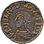 Figure 1 - Early English Pence of Aethelred the Unready.  The reverse bears a cross which made it convenient to divide the coin in halfpence or quarther pence referred to as farthings.  Image from Arichis uploaded to the Wikipedia and placed in the public domain.