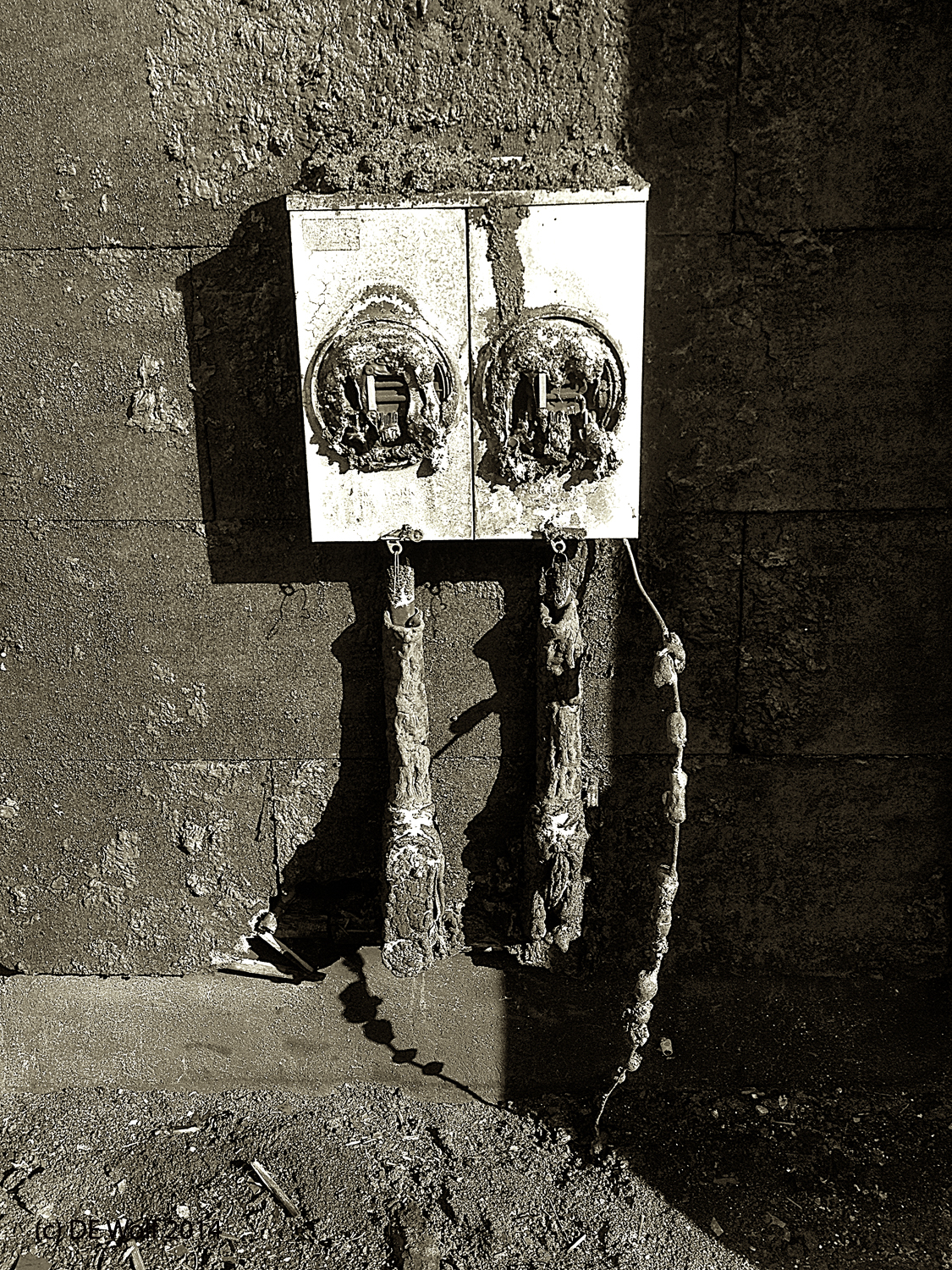 Figure 1 - Burned out meters at 88 Galen Street, Watertown, MA, IPhone photograph. (c) DE Wolf 2014.