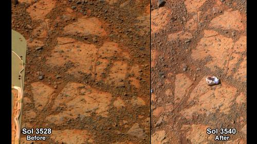 """Figure 1 - Images approximately two weeks apart from the Mars Rover.  Left before the appearnce and right after the mysterious appearance of the """"Jelly doughnut"""" rock.  Images from NASA and in the public domain."""