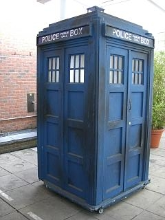 "Figure 1 - Tardis time machine from the English television series ""Dr. Who.""  From the Wikimediacommons, upload by Zir, and put in the public domain."
