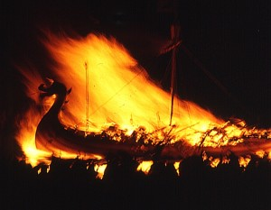 Figure 1 - Up Helly Aa Viking fire festival, 1973. Picture by Ann Burgess via the Wikipedia under the Creative Commons Attribution Share-alike license 2.0