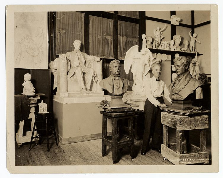 Figure 1 - Daniel Chester French, American Sculptor, in his studio in 1920.  Image from the Smithsonian Institution vis the Wikimedia Commons and has no known copyright restrictions.