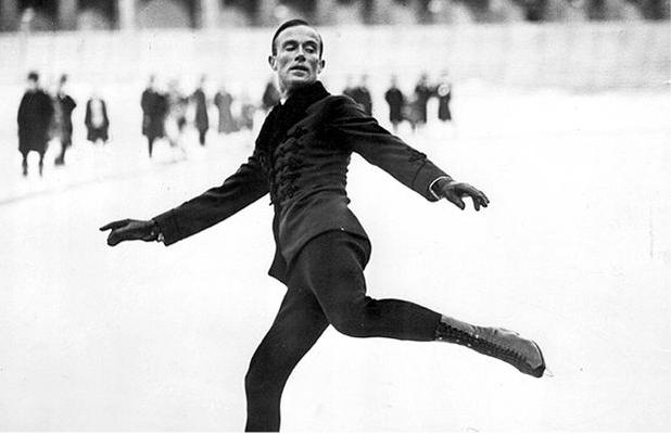 Figure 1 - Gold medal figure skater Gillis Grafström at the 1924 winter games in Chamonix, FR.  Image from the Wikimedia Commons uploaded by Scanpix, photographer unknown, in the public domain.