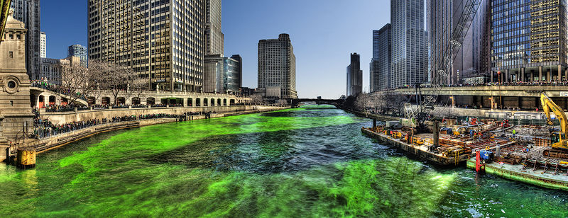 Figure 1 - Dying the Chicago River Green on Saint Patrick's Day 2009.  Image from the Wikipedia Commons, an original work by Mike Boehmer from Chicago, IL, USA and in the public domain under creative commons attribution license.