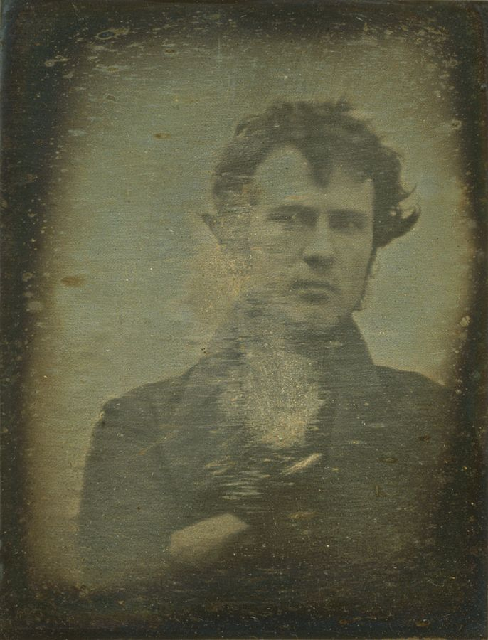 Figure 1 - The world's first selfie, a daguerreotype by taken 1839.  In the Library of Congress, from the Wikipedia, and  and in the public domain.