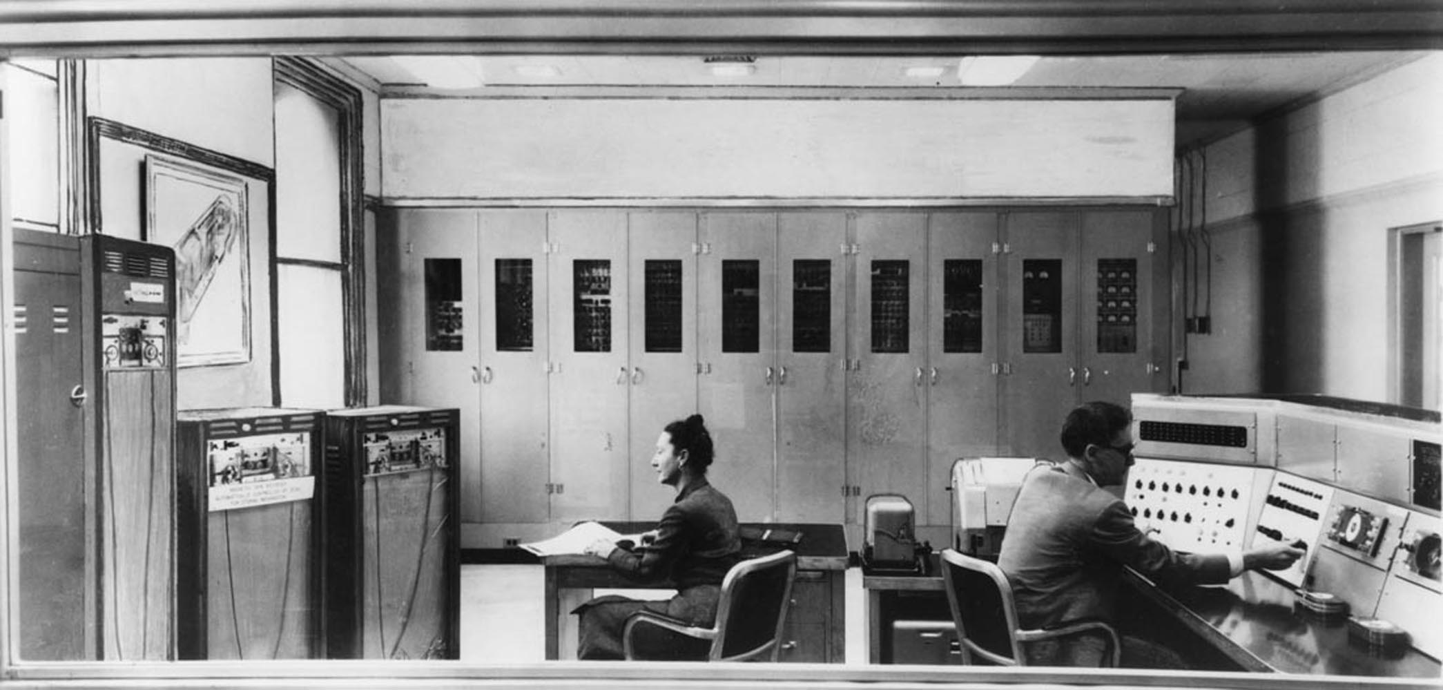 Figure 3 - The room-sized Standards Eastern Automatic Computer (SEAC) was used to create the first scanned image.  From the NIST and in the public domain.
