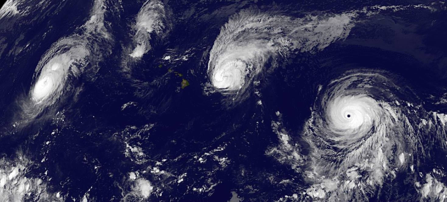 Figure 1 - Tracking three hurricanes over the Hawaiian Islands on August 31, 2015. From US NOAA and in the public domain because it was produced by an agency of the US government.
