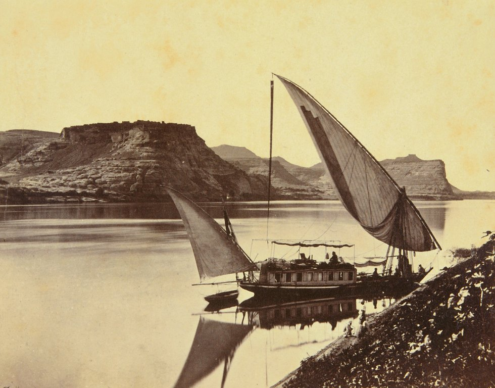 """Figure 1 - Albumen print by Frances Frith, """"Travelers boat at Ibrim (1856-1859) in the public domain in the United States because of its age."""
