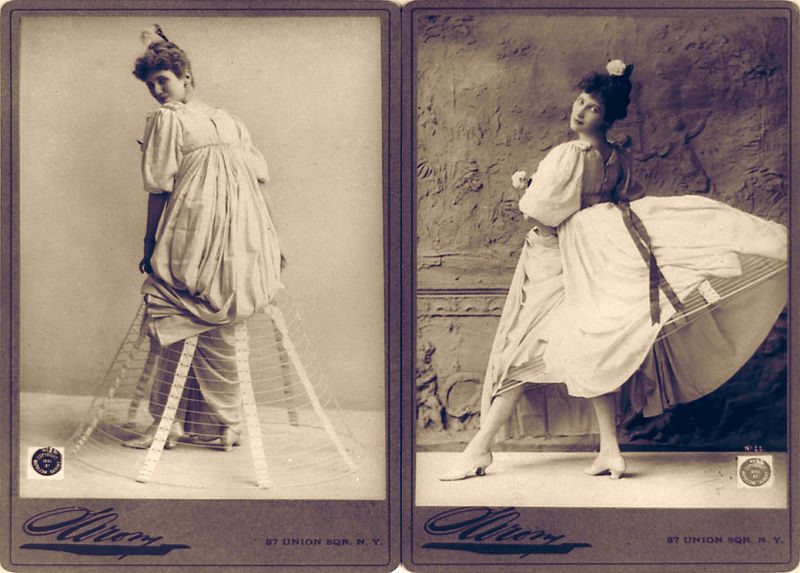 Figure 1 - Hoop-skirt by Napoleon Sarony c 1893. From the Wikimedia Commons, original in the US Library of Congress and in the public domain because of its age.
