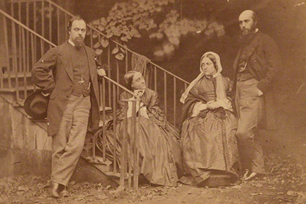 Figure 1 -Charles Lutwidge Dodgson, albumen print, 7 October 1863 showing the Rossetti family. Original in the NPG London and in the public domain in the United States because of its age.
