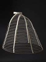 """Figure 2 - Steel wired crinoline cage c 1865 from the Wikipedia original from This file is in the public domain because it has been released by the Los Angeles County Museum of Art www.lacma.org with its """"Public Domain High Resolution Image Available"""" mark."""